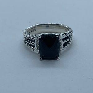 David Yurman Black Onyx Petite Wheaton Ring Size 9